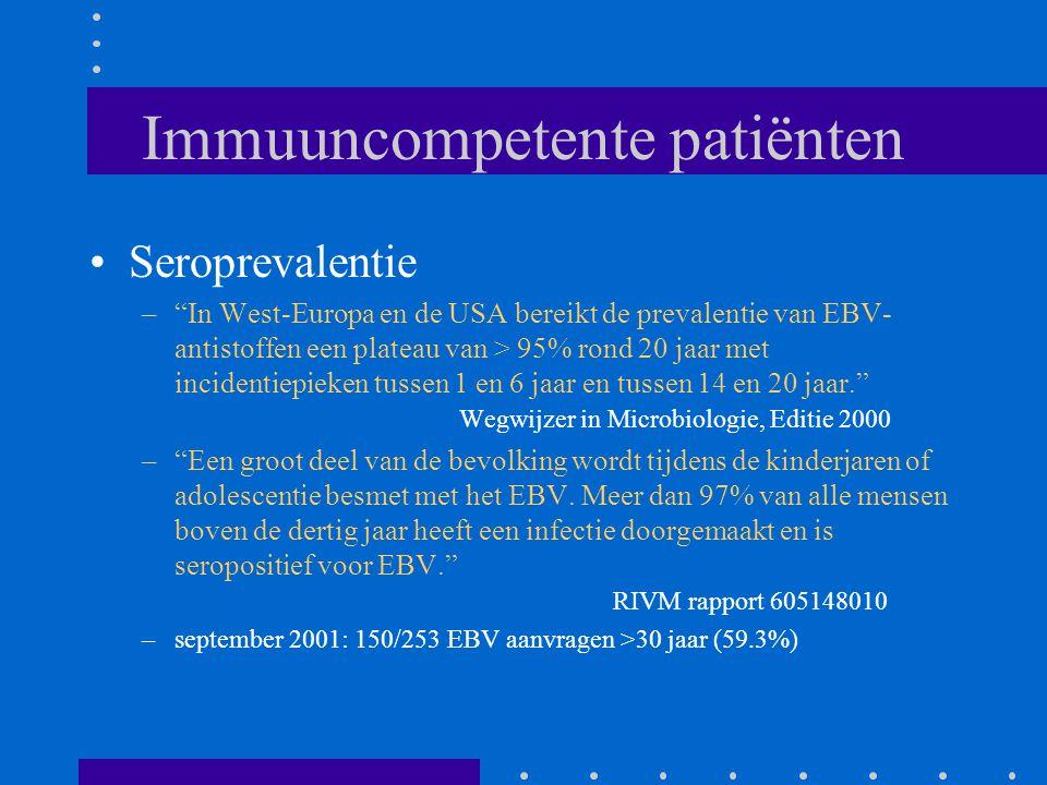 Immuuncompetente patiënten Seroprevalentie – In West-Europa en de USA bereikt de prevalentie van EBV- antistoffen een plateau van > 95% rond 20 jaar met incidentiepieken tussen 1 en 6 jaar en tussen 14 en 20 jaar. Wegwijzer in Microbiologie, Editie 2000 – Een groot deel van de bevolking wordt tijdens de kinderjaren of adolescentie besmet met het EBV.