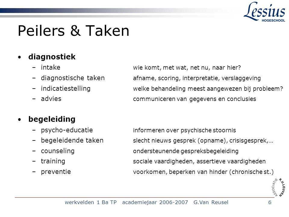 werkvelden 1 Ba TP academiejaar 2006-2007 G.Van Reusel7 Werkterreinen 1.Psychopathologie => studie van het psychisch lijden; het geheel van psychische stoornissen 2.forensische psychologie (zie deel 2) => studie van daders en slachtoffers van delinquent gedrag 3.Neuropsychologie => studie van neurologische aspecten van psychische (dis)functies 4.