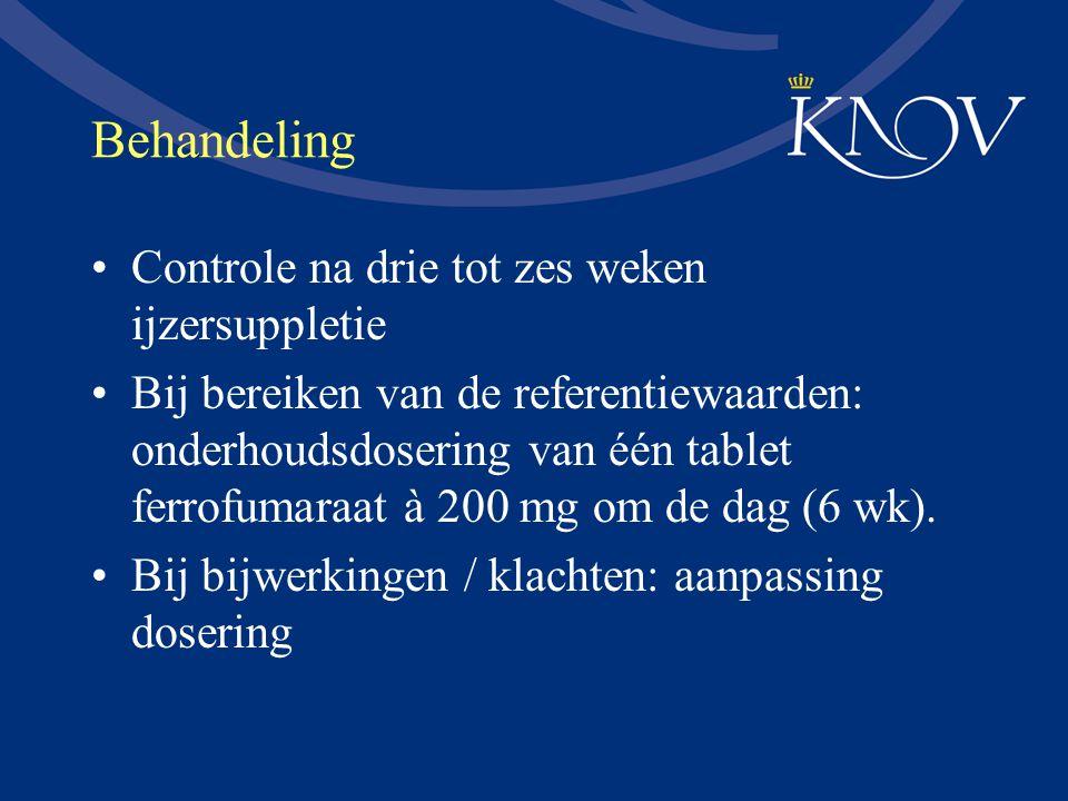 Behandeling Controle na drie tot zes weken ijzersuppletie Bij bereiken van de referentiewaarden: onderhoudsdosering van één tablet ferrofumaraat à 200