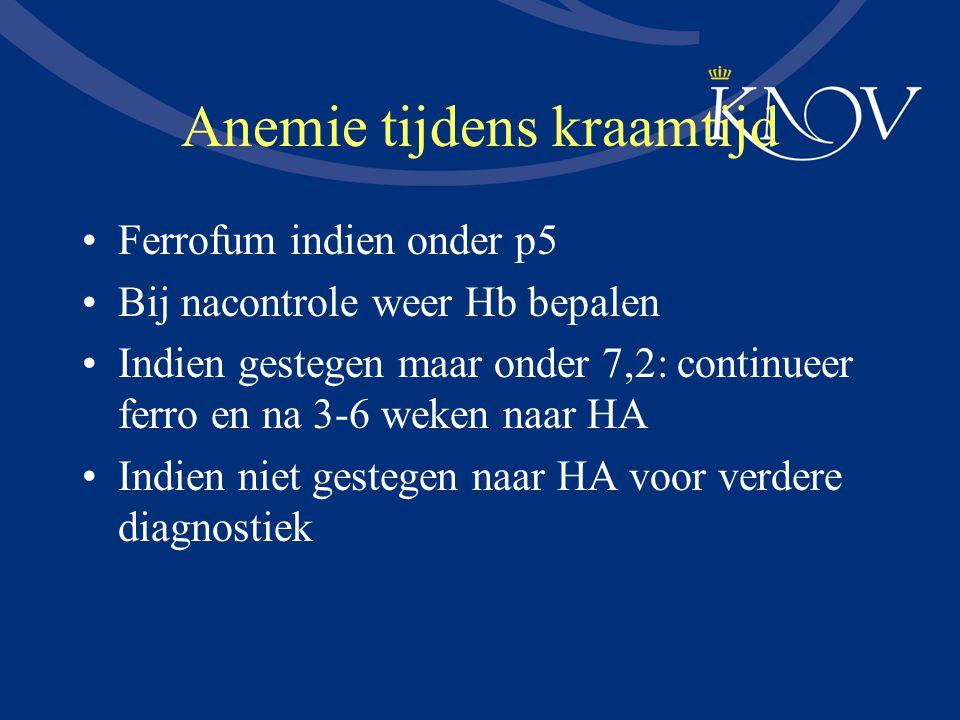 Anemie tijdens kraamtijd Ferrofum indien onder p5 Bij nacontrole weer Hb bepalen Indien gestegen maar onder 7,2: continueer ferro en na 3-6 weken naar
