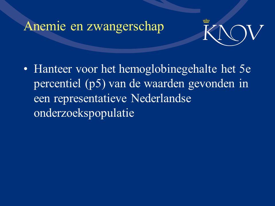 Anemie en zwangerschap Hanteer voor het hemoglobinegehalte het 5e percentiel (p5) van de waarden gevonden in een representatieve Nederlandse onderzoek