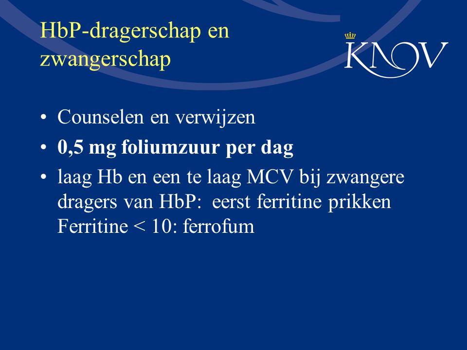HbP-dragerschap en zwangerschap Counselen en verwijzen 0,5 mg foliumzuur per dag laag Hb en een te laag MCV bij zwangere dragers van HbP: eerst ferrit