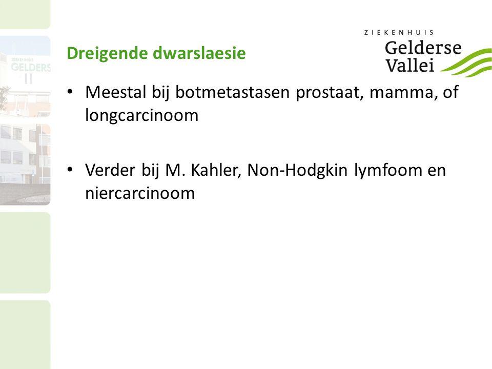 Oorzaken Wervelmetastasen ( 85%) Locale doorgroei (10%) Ruggemerg metastasen (5%)