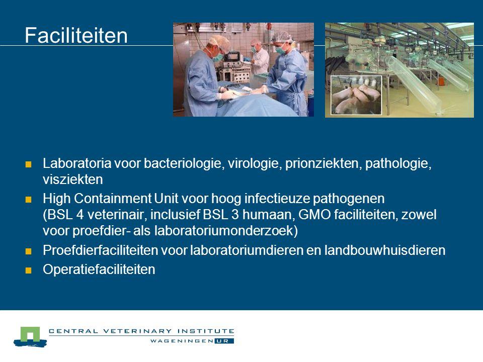 Faciliteiten Laboratoria voor bacteriologie, virologie, prionziekten, pathologie, visziekten High Containment Unit voor hoog infectieuze pathogenen (BSL 4 veterinair, inclusief BSL 3 humaan, GMO faciliteiten, zowel voor proefdier- als laboratoriumonderzoek) Proefdierfaciliteiten voor laboratoriumdieren en landbouwhuisdieren Operatiefaciliteiten