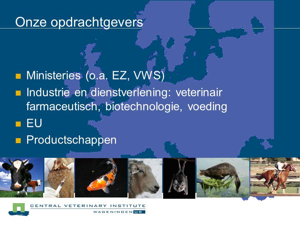 Onze opdrachtgevers Ministeries (o.a. EZ, VWS) Industrie en dienstverlening: veterinair farmaceutisch, biotechnologie, voeding EU Productschappen