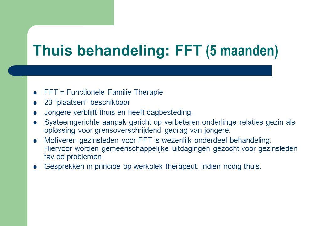 """Thuis behandeling: FFT (5 maanden) FFT = Functionele Familie Therapie 23 """"plaatsen"""" beschikbaar Jongere verblijft thuis en heeft dagbesteding. Systeem"""