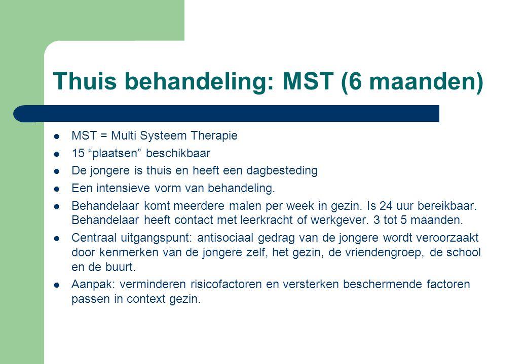 """Thuis behandeling: MST (6 maanden) MST = Multi Systeem Therapie 15 """"plaatsen"""" beschikbaar De jongere is thuis en heeft een dagbesteding Een intensieve"""