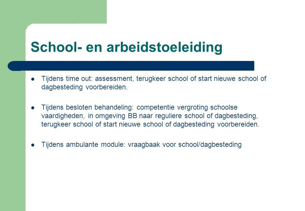 School- en arbeidstoeleiding Tijdens time out: assessment, terugkeer school of start nieuwe school of dagbesteding voorbereiden. Tijdens besloten beha