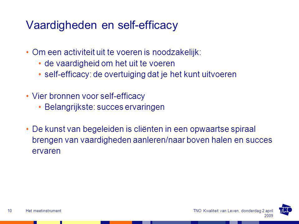 TNO Kwaliteit van Leven, donderdag 2 april 2009 Het meetinstrument10 Vaardigheden en self-efficacy Om een activiteit uit te voeren is noodzakelijk: de vaardigheid om het uit te voeren self-efficacy: de overtuiging dat je het kunt uitvoeren Vier bronnen voor self-efficacy Belangrijkste: succes ervaringen De kunst van begeleiden is cliënten in een opwaartse spiraal brengen van vaardigheden aanleren/naar boven halen en succes ervaren