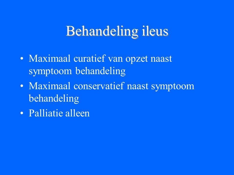 Behandeling ileus Maximaal curatief van opzet naast symptoom behandeling Maximaal conservatief naast symptoom behandeling Palliatie alleen