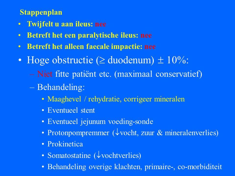 Stappenplan Twijfelt u aan ileus: nee Betreft het een paralytische ileus: nee Betreft het alleen faecale impactie: nee Hoge obstructie (  duodenum)  10%: –Niet fitte patiënt etc.