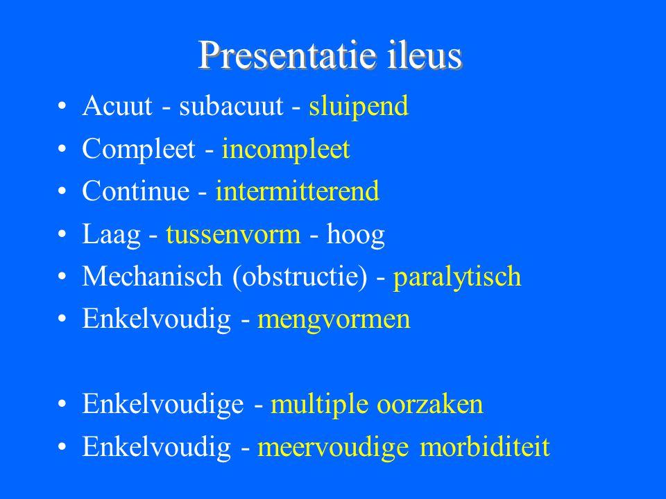 Presentatie ileus Acuut - subacuut - sluipend Compleet - incompleet Continue - intermitterend Laag - tussenvorm - hoog Mechanisch (obstructie) - paralytisch Enkelvoudig - mengvormen Enkelvoudige - multiple oorzaken Enkelvoudig - meervoudige morbiditeit