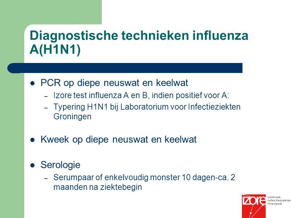 Diagnostische technieken influenza A(H1N1) PCR op diepe neuswat en keelwat – Izore test influenza A en B, indien positief voor A: – Typering H1N1 bij Laboratorium voor Infectieziekten Groningen Kweek op diepe neuswat en keelwat Serologie – Serumpaar of enkelvoudig monster 10 dagen-ca.