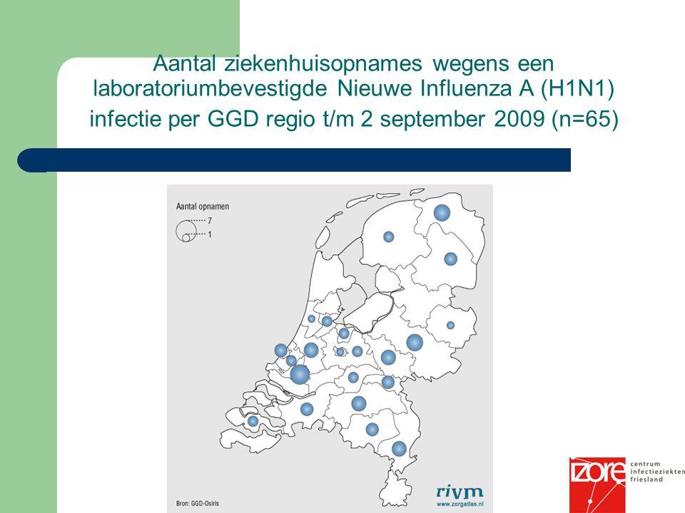 Aantal ziekenhuisopnames wegens een laboratoriumbevestigde Nieuwe Influenza A (H1N1) infectie per GGD regio t/m 2 september 2009 (n=65)