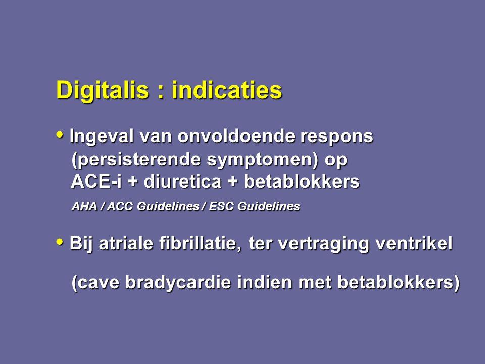 Digitalis : indicaties Ingeval van onvoldoende respons Ingeval van onvoldoende respons (persisterende symptomen) op (persisterende symptomen) op ACE-i