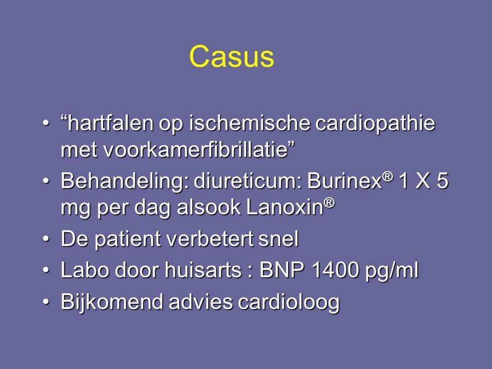 """""""hartfalen op ischemische cardiopathie met voorkamerfibrillatie""""""""hartfalen op ischemische cardiopathie met voorkamerfibrillatie"""" Behandeling: diuretic"""