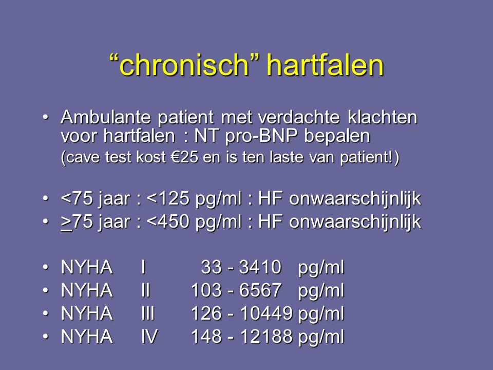 """""""chronisch"""" hartfalen Ambulante patient met verdachte klachten voor hartfalen : NT pro-BNP bepalenAmbulante patient met verdachte klachten voor hartfa"""