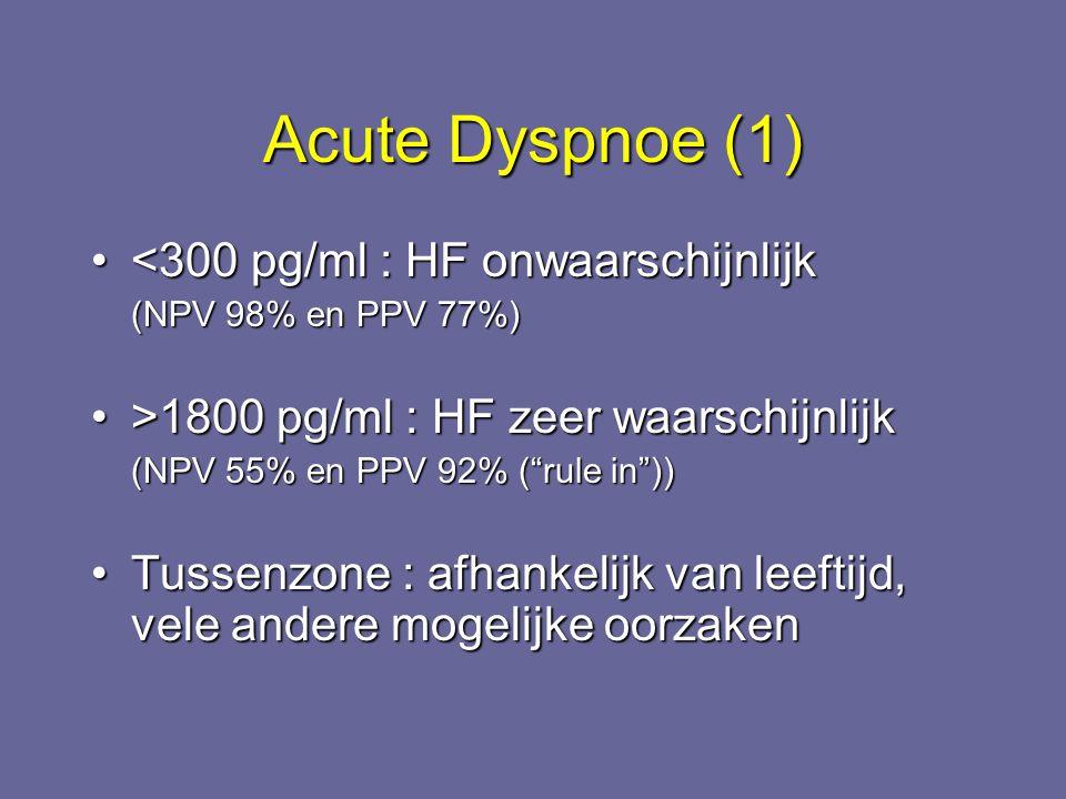 Acute Dyspnoe (1) <300 pg/ml : HF onwaarschijnlijk<300 pg/ml : HF onwaarschijnlijk (NPV 98% en PPV 77%) >1800 pg/ml : HF zeer waarschijnlijk>1800 pg/m