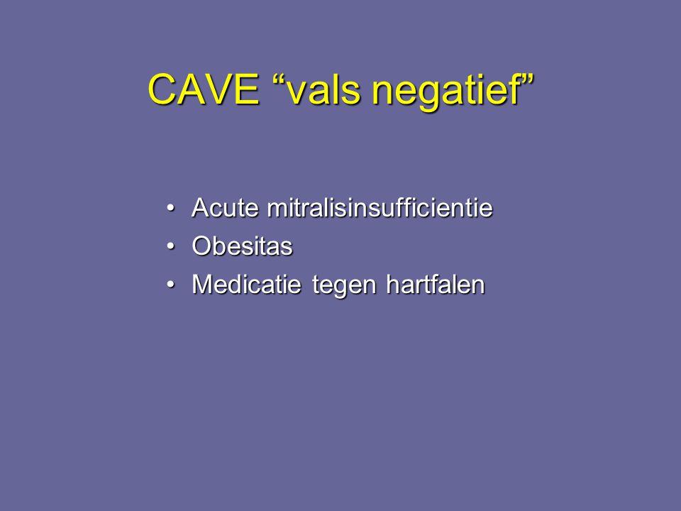 """CAVE """"vals negatief"""" Acute mitralisinsufficientieAcute mitralisinsufficientie ObesitasObesitas Medicatie tegen hartfalenMedicatie tegen hartfalen"""