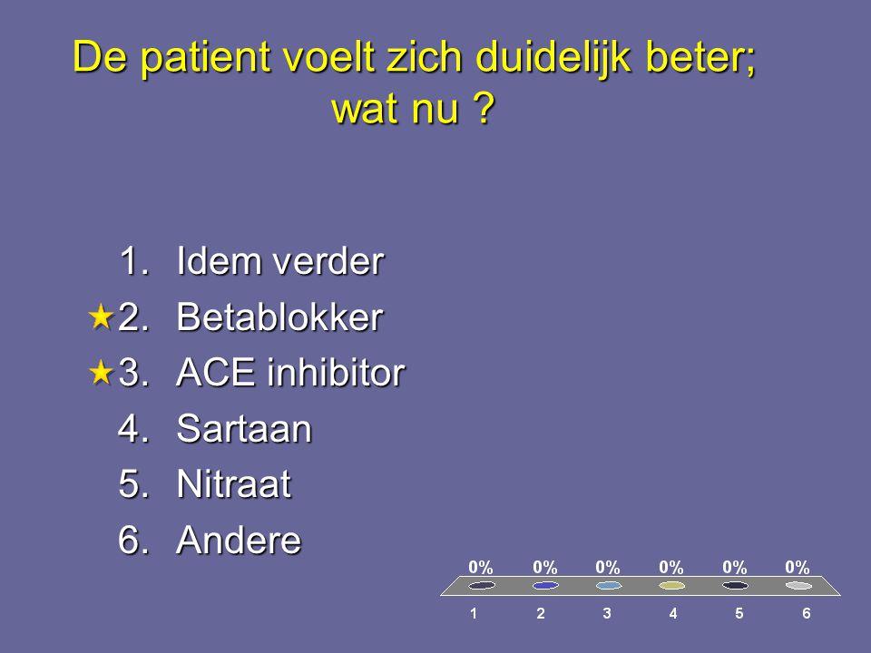 De patient voelt zich duidelijk beter; wat nu ? 1.Idem verder 2.Betablokker 3.ACE inhibitor 4.Sartaan 5.Nitraat 6.Andere