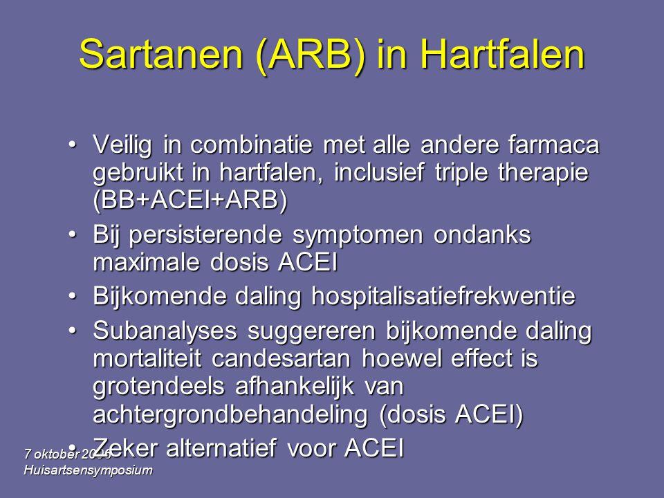 7 oktober 2006 Huisartsensymposium Sartanen (ARB) in Hartfalen Veilig in combinatie met alle andere farmaca gebruikt in hartfalen, inclusief triple th