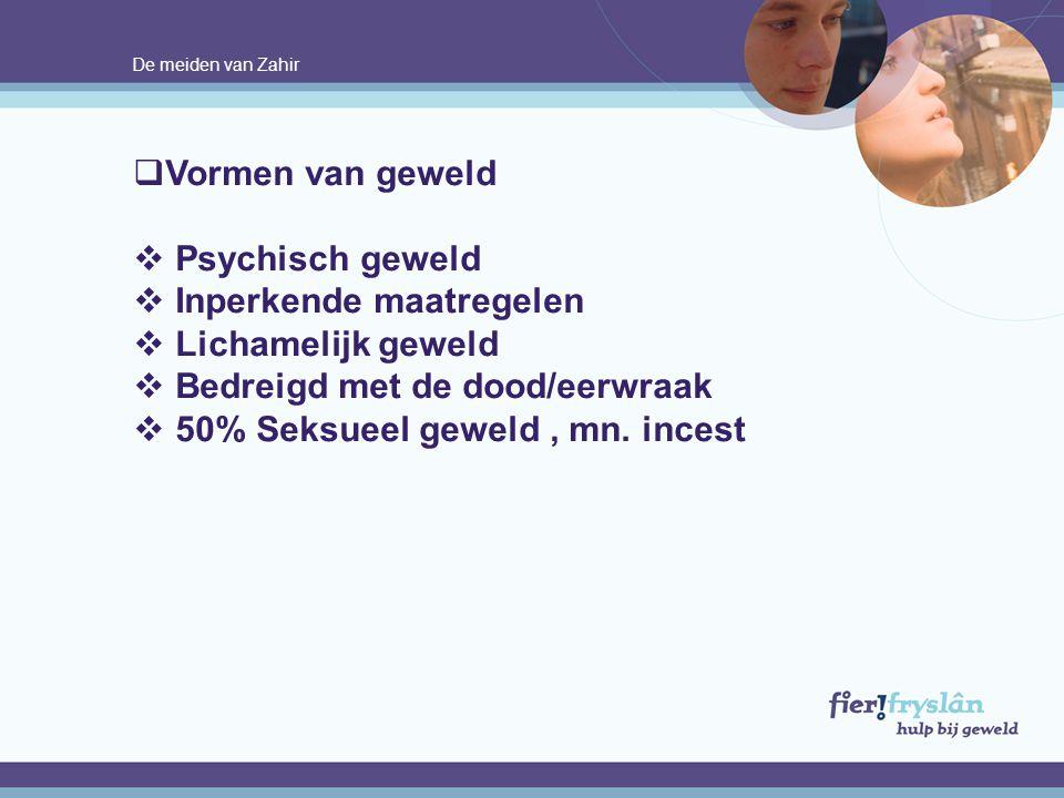 De meiden van Zahir  Vormen van geweld  Psychisch geweld  Inperkende maatregelen  Lichamelijk geweld  Bedreigd met de dood/eerwraak  50% Seksuee