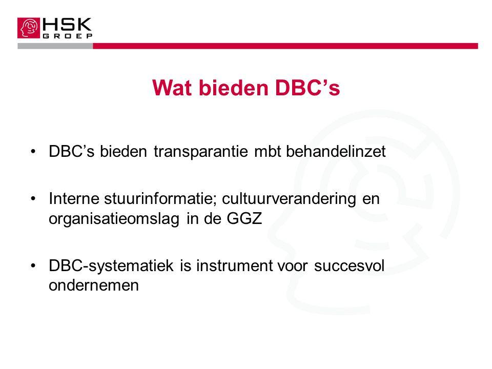 Wat bieden DBC's DBC's bieden transparantie mbt behandelinzet Interne stuurinformatie; cultuurverandering en organisatieomslag in de GGZ DBC-systematiek is instrument voor succesvol ondernemen
