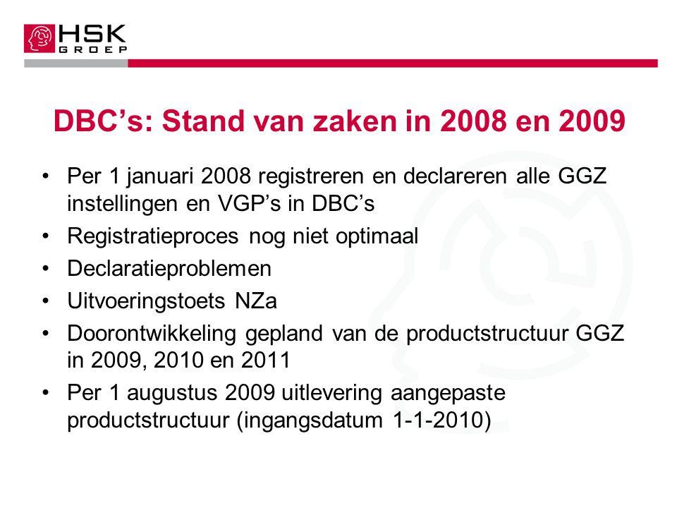 DBC's: Stand van zaken in 2008 en 2009 Per 1 januari 2008 registreren en declareren alle GGZ instellingen en VGP's in DBC's Registratieproces nog niet optimaal Declaratieproblemen Uitvoeringstoets NZa Doorontwikkeling gepland van de productstructuur GGZ in 2009, 2010 en 2011 Per 1 augustus 2009 uitlevering aangepaste productstructuur (ingangsdatum 1-1-2010)