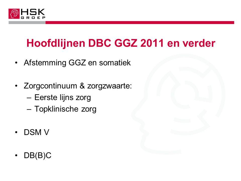 Hoofdlijnen DBC GGZ 2011 en verder Afstemming GGZ en somatiek Zorgcontinuum & zorgzwaarte: –Eerste lijns zorg –Topklinische zorg DSM V DB(B)C
