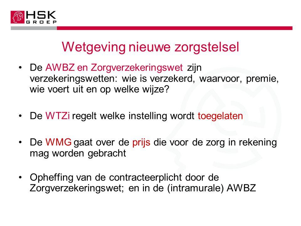 Wetgeving nieuwe zorgstelsel De AWBZ en Zorgverzekeringswet zijn verzekeringswetten: wie is verzekerd, waarvoor, premie, wie voert uit en op welke wijze.