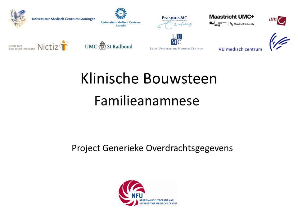 FamilyHistory De familie anamnese bevat een zo volledig mogelijk overzicht van alle gezondheidsproblemen van familieleden van de patiënt die bekend zijn en relevant zijn voor de overdracht.
