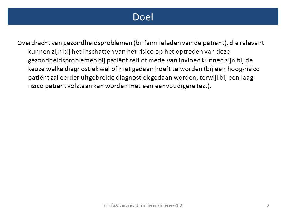 Voorbeeld nl.nfu.OverdrachtFamilieanamnese-v1.04 Datum anamnese Familielid Probleem type ProbleemStatusDatumOverleden Oorzaak overlijden BronOpmerkingen 1-2-2013moederDiagnosemammacarcinoomActueel1995Ja Erasmus MC 1-2-2013zus/moederDiagnosemammacarcinoomActueel21-3-1999 Franciscus gasthuis R'dam moeder heeft vijf zusters 1-2-2013vaderDiagnosemyocardinfarctNiet actueel16-6-2001Ja Franciscus gasthuis R'dam