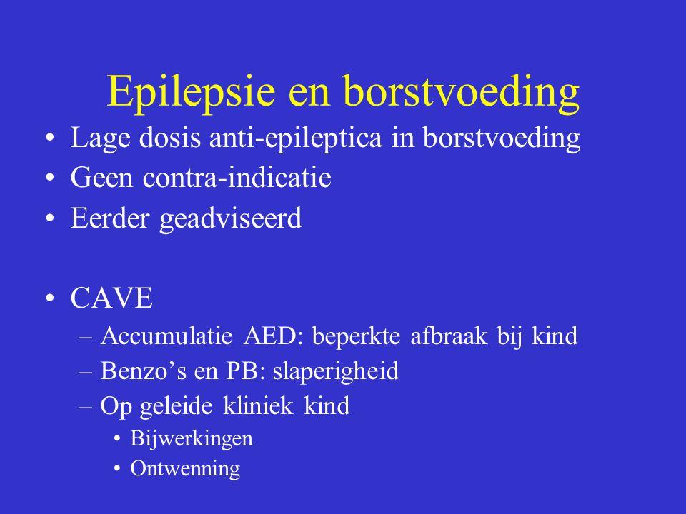 Epilepsie en borstvoeding Lage dosis anti-epileptica in borstvoeding Geen contra-indicatie Eerder geadviseerd CAVE –Accumulatie AED: beperkte afbraak bij kind –Benzo's en PB: slaperigheid –Op geleide kliniek kind Bijwerkingen Ontwenning
