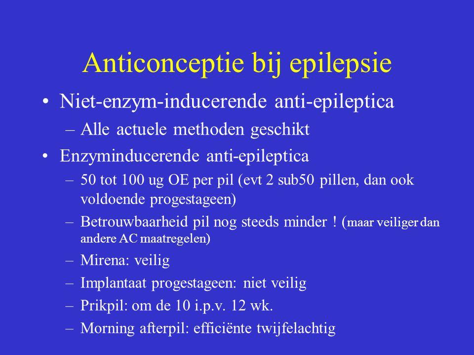 Anticonceptie bij epilepsie Niet-enzym-inducerende anti-epileptica –Alle actuele methoden geschikt Enzyminducerende anti-epileptica –50 tot 100 ug OE per pil (evt 2 sub50 pillen, dan ook voldoende progestageen) –Betrouwbaarheid pil nog steeds minder .