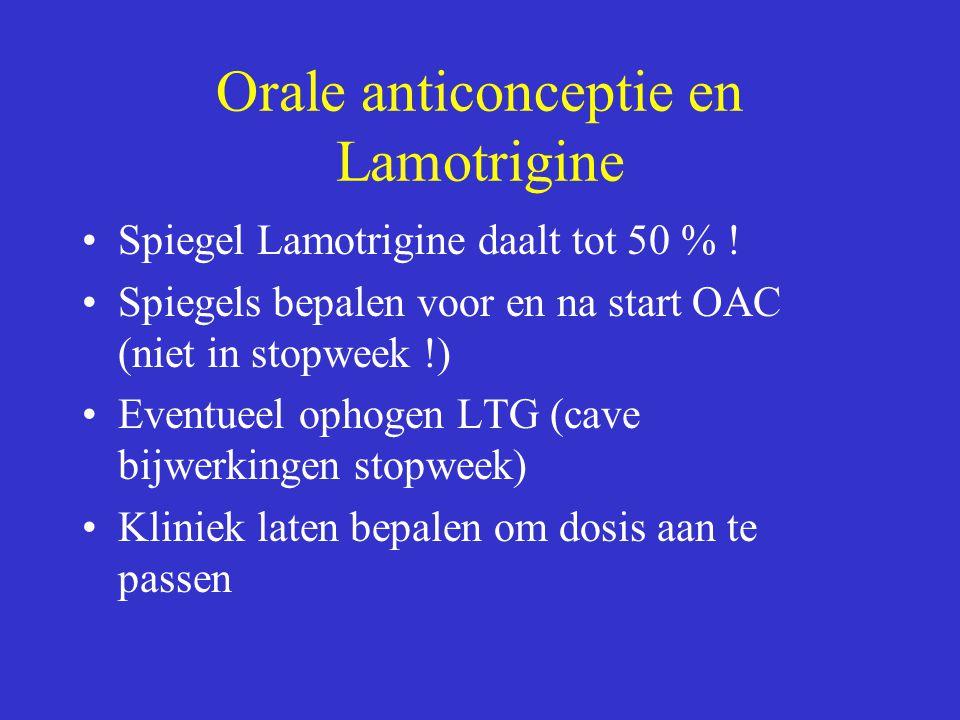 Orale anticonceptie en Lamotrigine Spiegel Lamotrigine daalt tot 50 % .