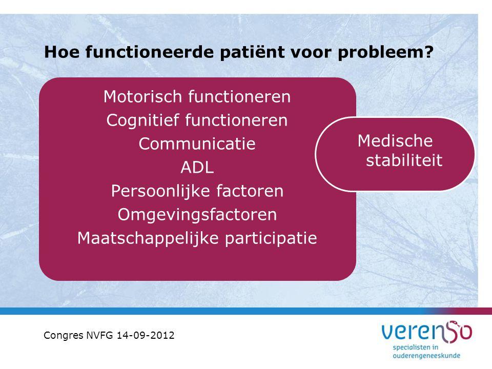 Hoe functioneerde patiënt voor probleem? Motorisch functioneren Cognitief functioneren Communicatie ADL Persoonlijke factoren Omgevingsfactoren Maatsc