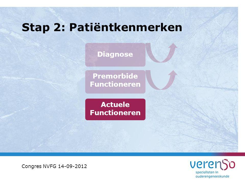 Stap 2: Patiëntkenmerken Diagnose Premorbide Functioneren Actuele Functioneren Congres NVFG 14-09-2012
