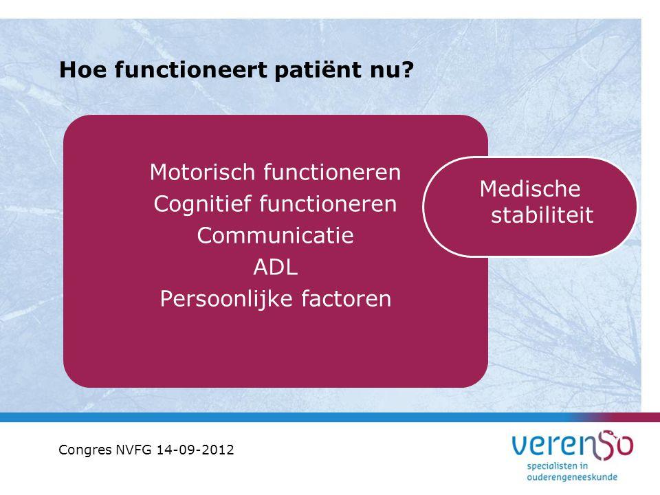 Hoe functioneert patiënt nu? Motorisch functioneren Cognitief functioneren Communicatie ADL Persoonlijke factoren Medische stabiliteit Congres NVFG 14