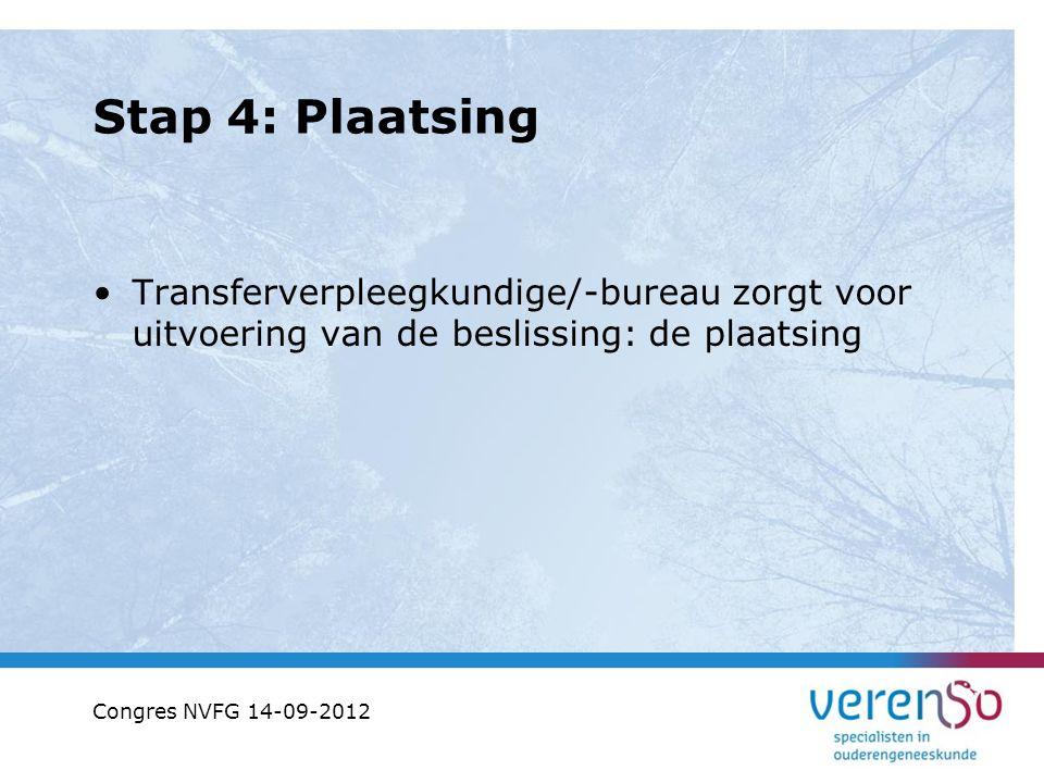 Stap 4: Plaatsing Transferverpleegkundige/-bureau zorgt voor uitvoering van de beslissing: de plaatsing Congres NVFG 14-09-2012