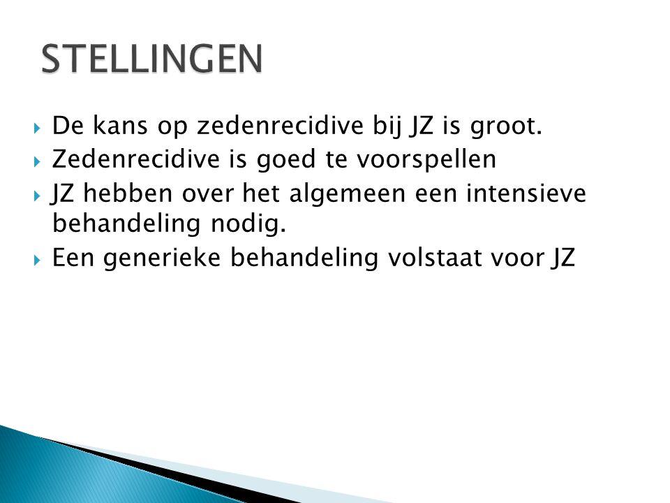  De kans op zedenrecidive bij JZ is groot.  Zedenrecidive is goed te voorspellen  JZ hebben over het algemeen een intensieve behandeling nodig.  E