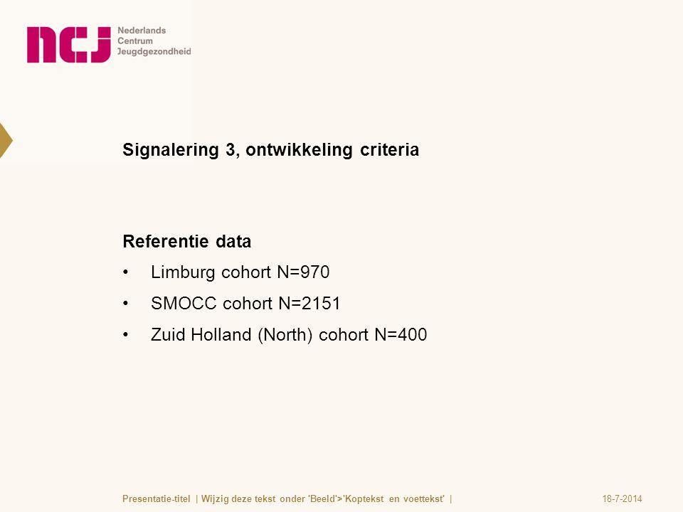 Signalering 3, ontwikkeling criteria Referentie data Limburg cohort N=970 SMOCC cohort N=2151 Zuid Holland (North) cohort N=400 18-7-2014Presentatie-t
