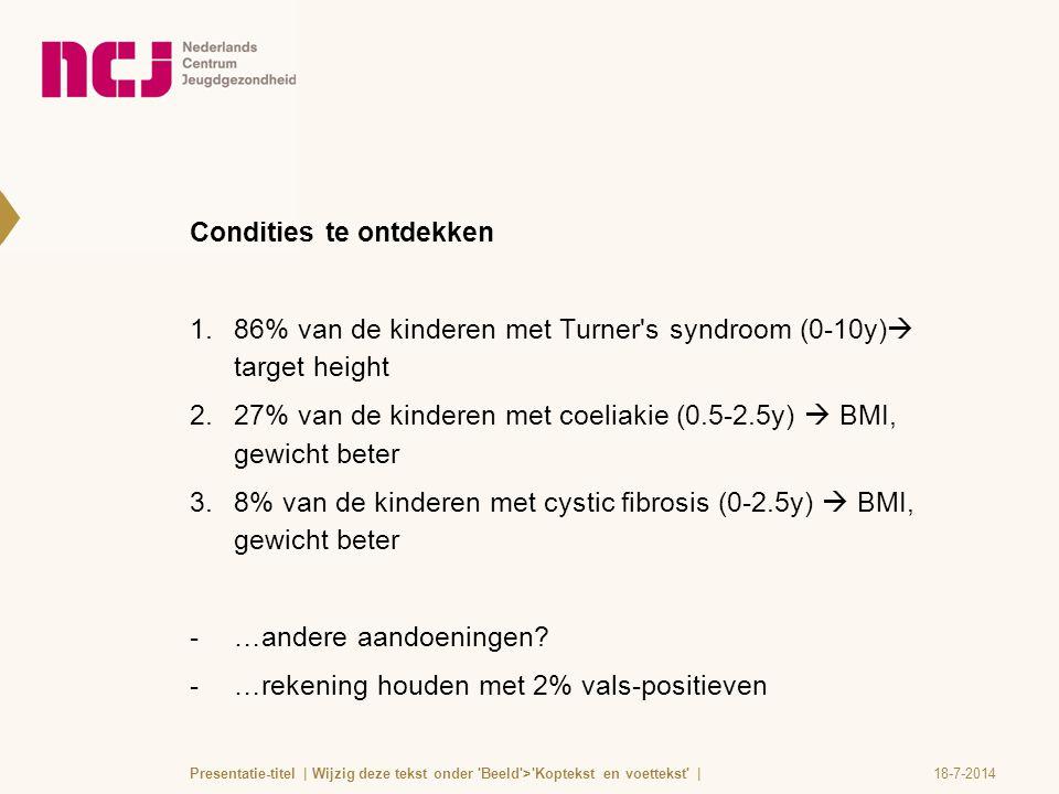 Condities te ontdekken 1.86% van de kinderen met Turner's syndroom (0-10y)  target height 2.27% van de kinderen met coeliakie (0.5-2.5y)  BMI, gewic
