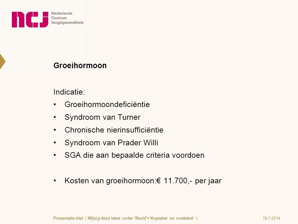 Groeihormoon Indicatie: Groeihormoondeficiëntie Syndroom van Turner Chronische nierinsufficiëntie Syndroom van Prader Willi SGA die aan bepaalde crite