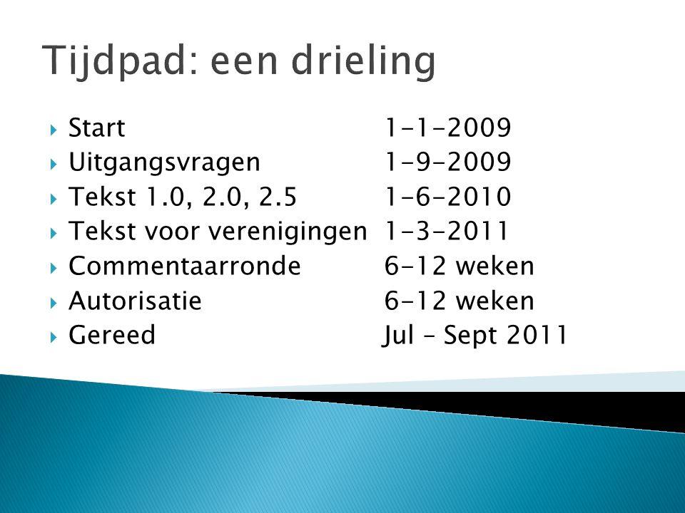 Tijdpad: een drieling  Start1-1-2009  Uitgangsvragen1-9-2009  Tekst 1.0, 2.0, 2.51-6-2010  Tekst voor verenigingen1-3-2011  Commentaarronde6-12 w