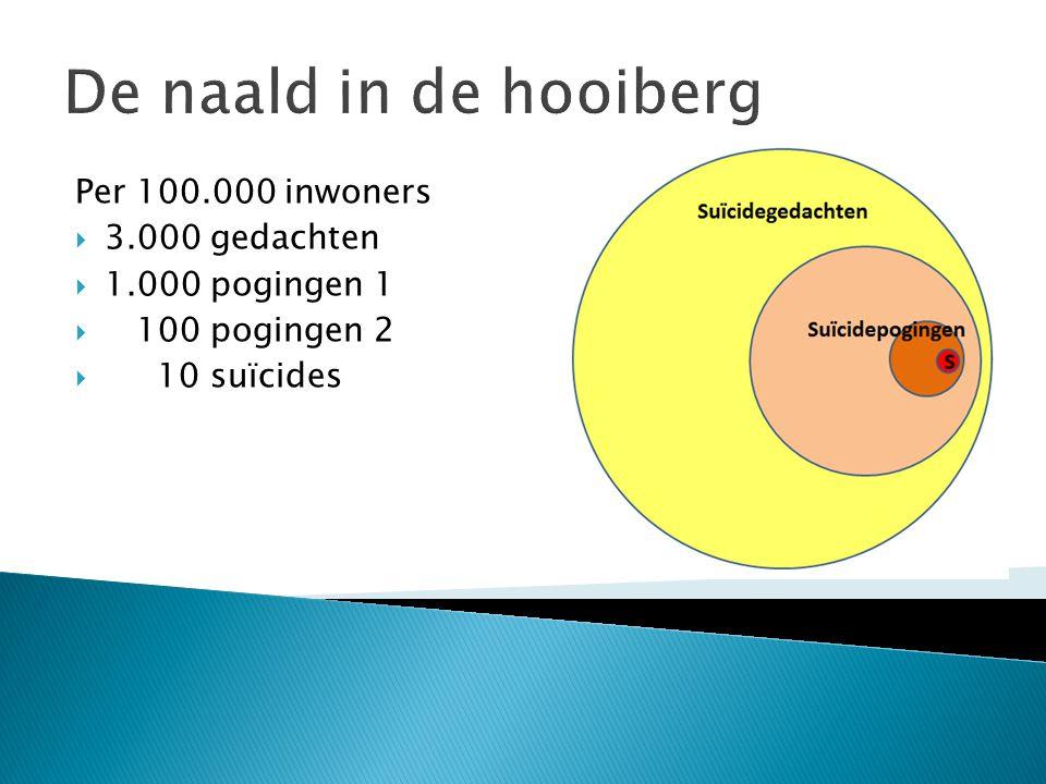 De naald in de hooiberg Per 100.000 inwoners  3.000 gedachten  1.000 pogingen 1  100 pogingen 2  10 suïcides