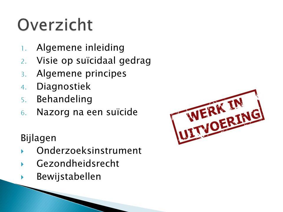 1. Algemene inleiding 2. Visie op suïcidaal gedrag 3. Algemene principes 4. Diagnostiek 5. Behandeling 6. Nazorg na een suïcide Bijlagen  Onderzoeksi
