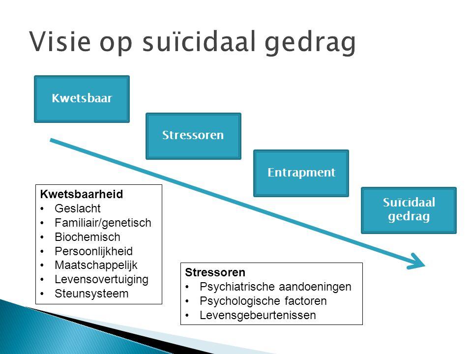 Kwetsbaar Stressoren Entrapment Suïcidaal gedrag Kwetsbaarheid Geslacht Familiair/genetisch Biochemisch Persoonlijkheid Maatschappelijk Levensovertuig