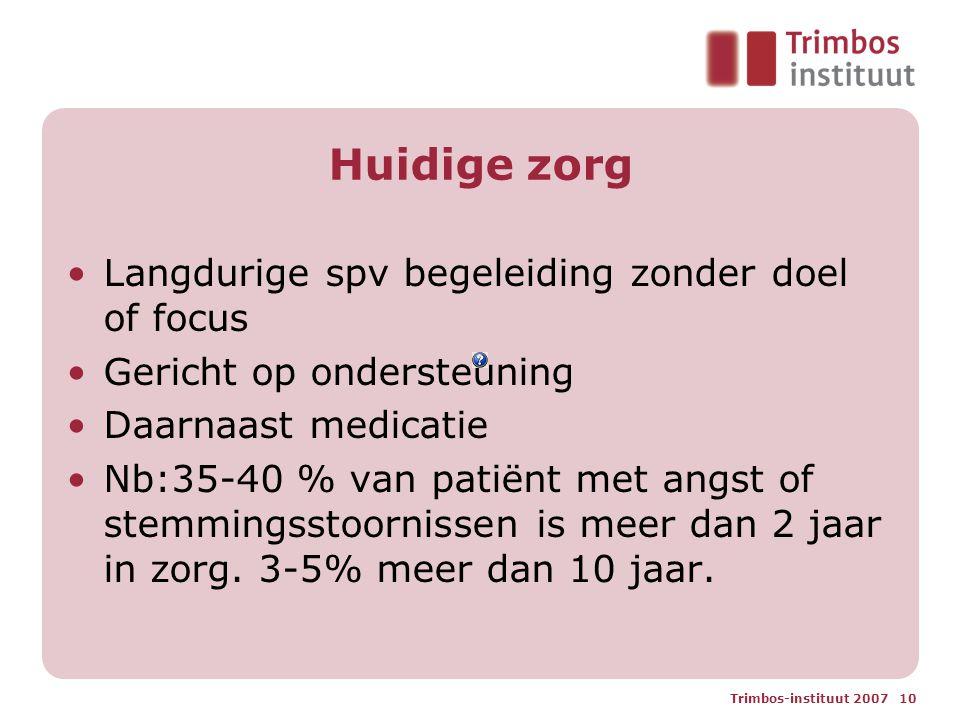 Trimbos-instituut 2007 10 Huidige zorg Langdurige spv begeleiding zonder doel of focus Gericht op ondersteuning Daarnaast medicatie Nb:35-40 % van pat