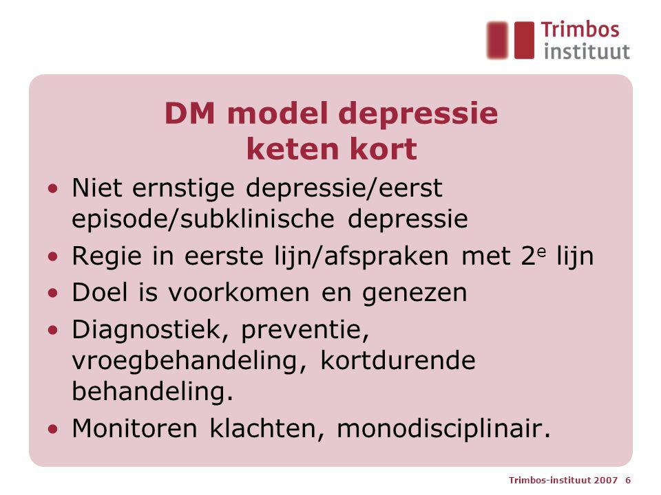 Trimbos-instituut 2007 6 DM model depressie keten kort Niet ernstige depressie/eerst episode/subklinische depressie Regie in eerste lijn/afspraken met