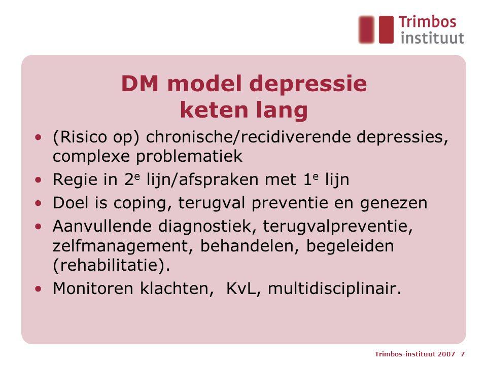 Trimbos-instituut 2007 7 DM model depressie keten lang (Risico op) chronische/recidiverende depressies, complexe problematiek Regie in 2 e lijn/afspra